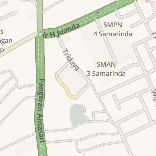 Waze Livemap - Driving Directions to SMPN 4 Samarinda, Samarinda ...