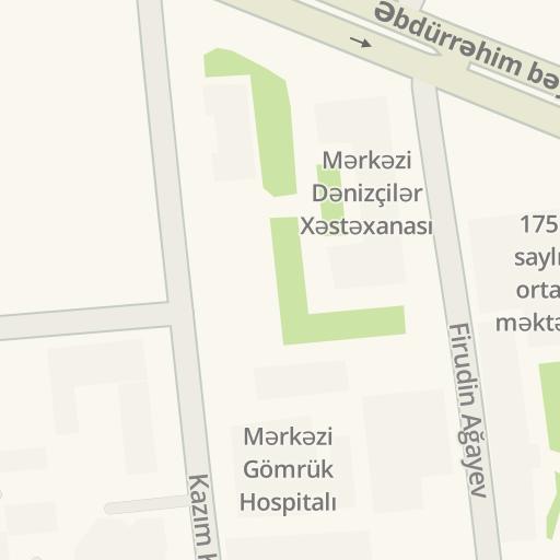 הוראות נסיעה לmərkəzi Gomruk Hospitali Kazim Kazimzadə Baki Waze